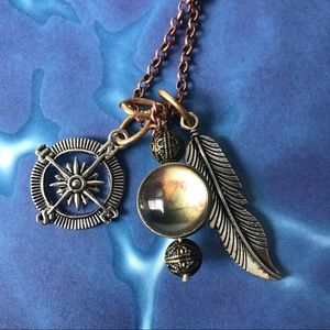 Jewelry - Double sided adventure awaits wanderlust necklace